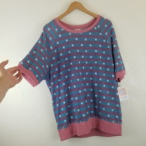 LuLaRoe Blue + Pink Star Print Short Sleeve Top A2